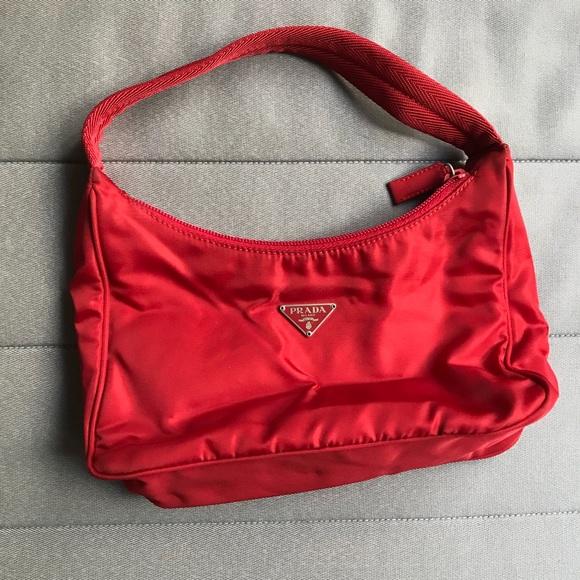 0b7333a7 Prada Mini Red Nylon Clutch